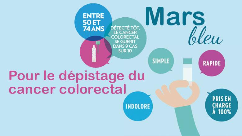Mars bleu, pour sensibiliser au dépistage du cancer colorectal.